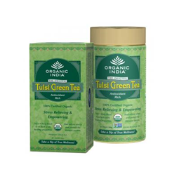 Combo Of Tulsi Green 100 Gram Tin And 25 Tea Bags Box